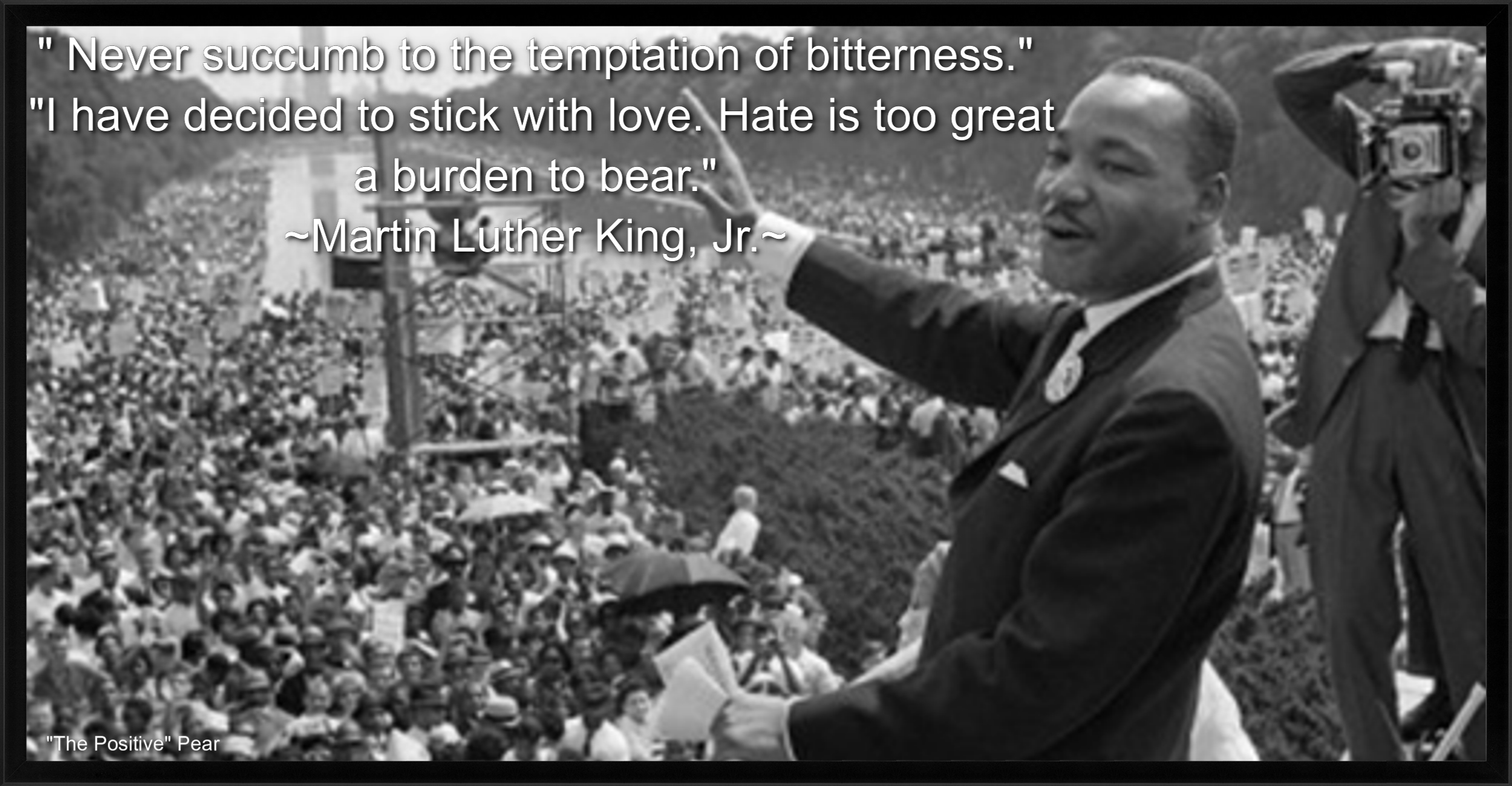 "in honor of dr martin luther king jr the positive pear  of 1963 dr martin luther king jr delivered his monumental speech ""i have a dream"""